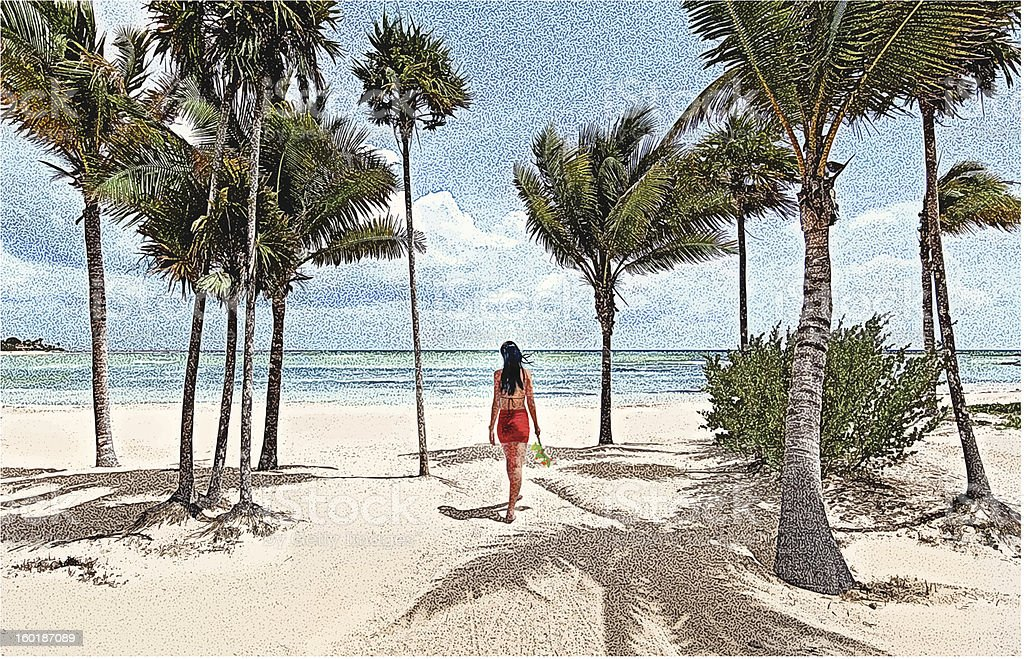 Latin American Woman Walking On Beach vector art illustration