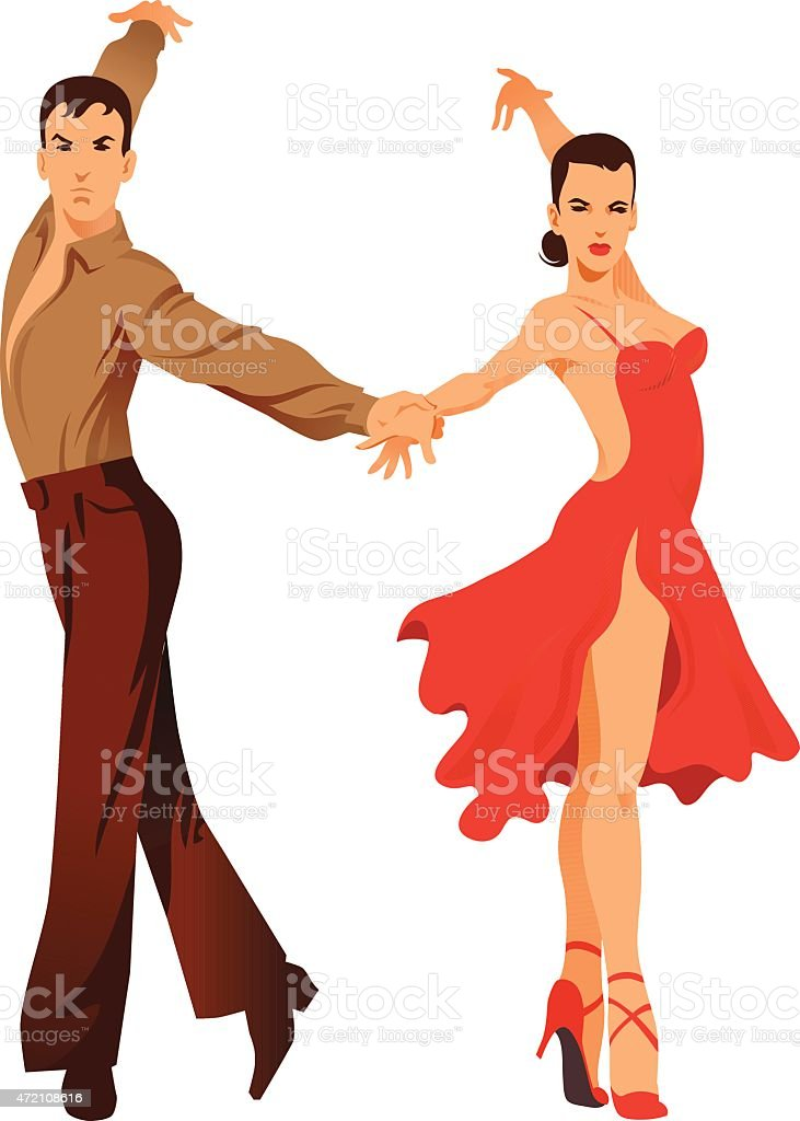 Latin Dancing - Couple of Dancers vector art illustration