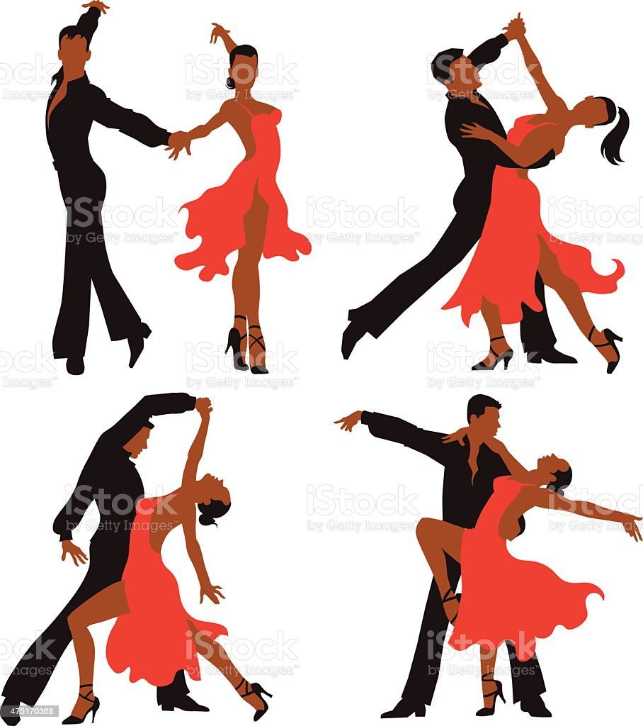 Latin Dancing Couples - Colored Set vector art illustration