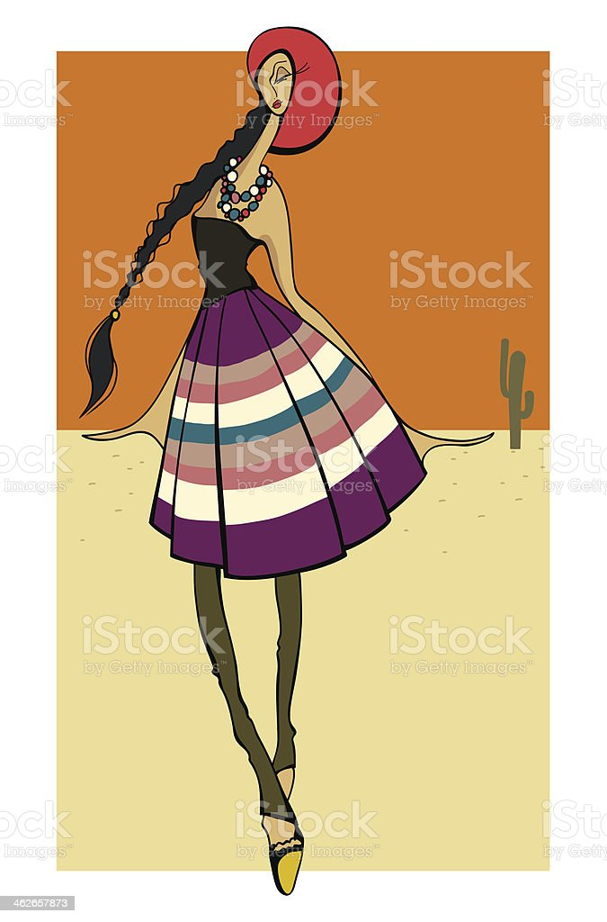 Latin Fashion Girl stylish dressed royalty-free stock vector art