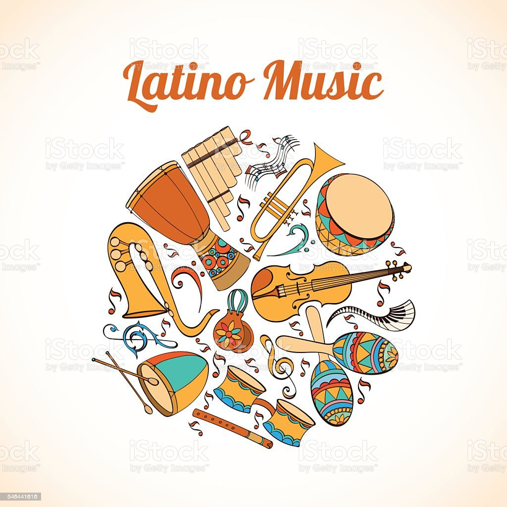 Latino musical card vector art illustration