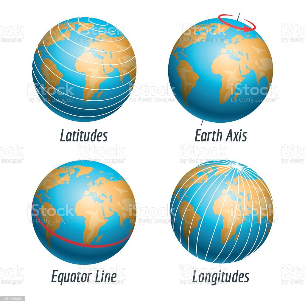 Latitude and longitude of the earth globe vector illustration