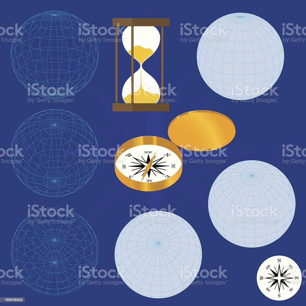 Latitude & Longitude - Global Spheres vector art illustration
