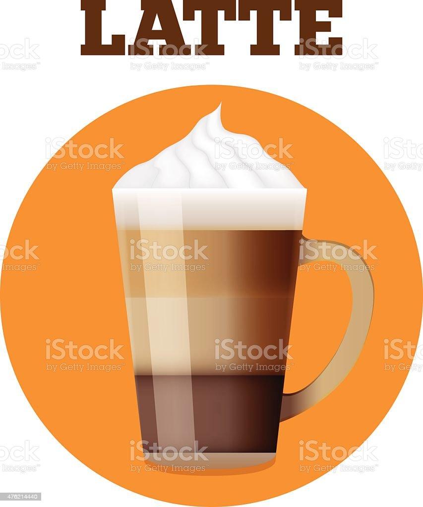 Latte glass realistic Illustration. vector art illustration