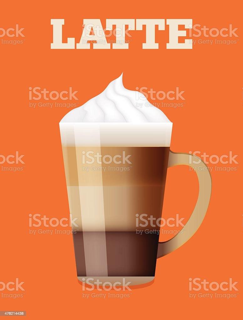 Latte glass realistic illustration,poster,menu page, element. vector art illustration
