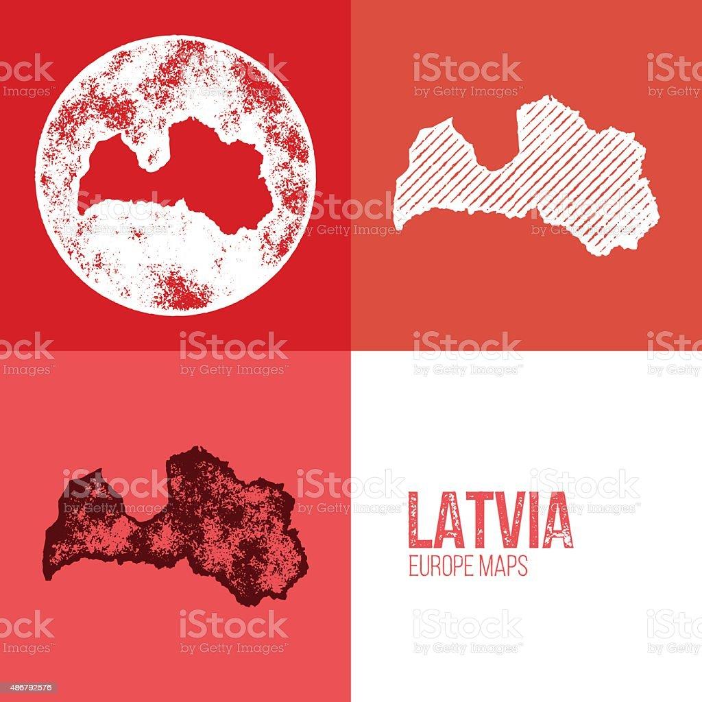 Latvia Grunge Retro Map vector art illustration