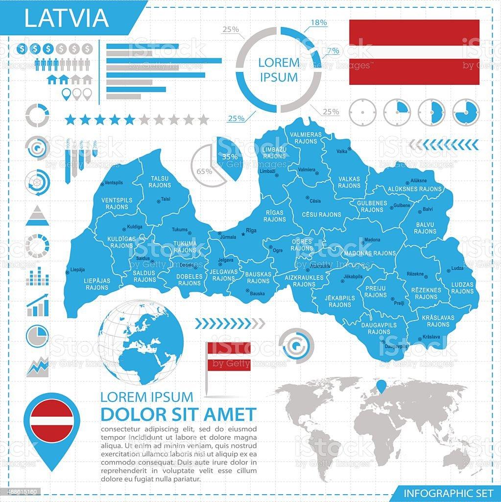 Latvia - infographic map - Illustration vector art illustration