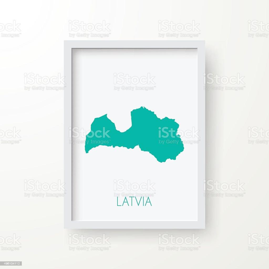 Latvia Map in Frame on White Background vector art illustration