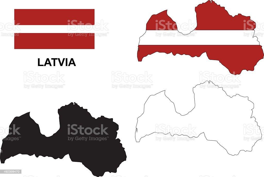 Latvia map vector, Latvia flag vector, isolated Latvia vector art illustration