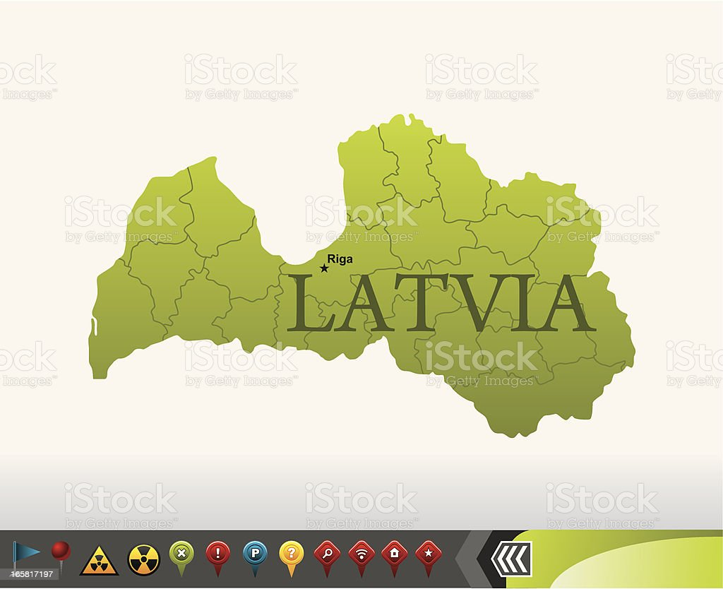 Latvia map with navigation icons vector art illustration