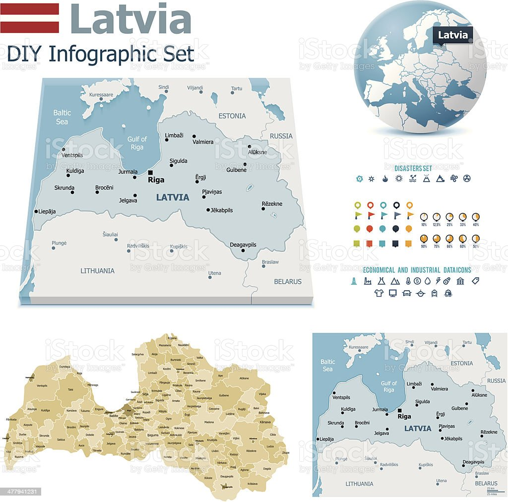 Latvia maps with markers vector art illustration
