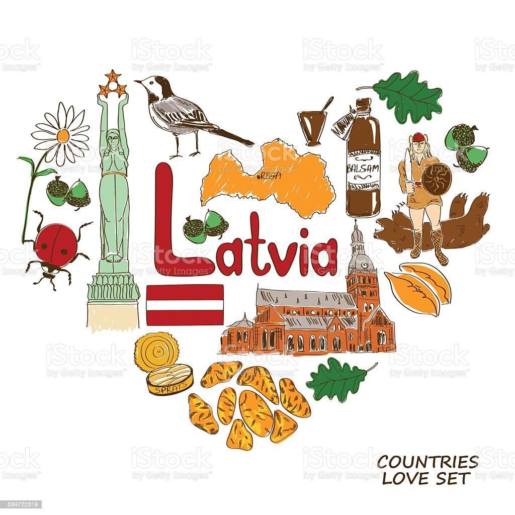 Latvian symbols in heart shape concept vector art illustration