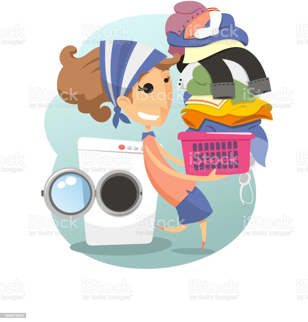 Laudry Woman washing clothes domestic life laundromat vector art illustration