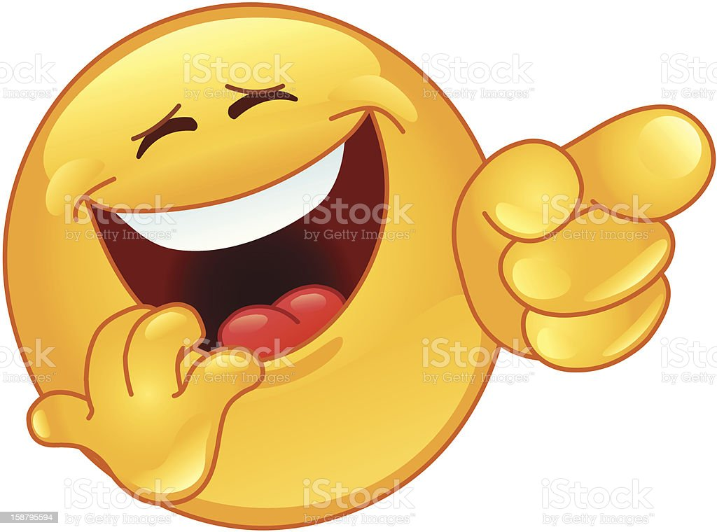 Laughing and pointing emoticon vector art illustration