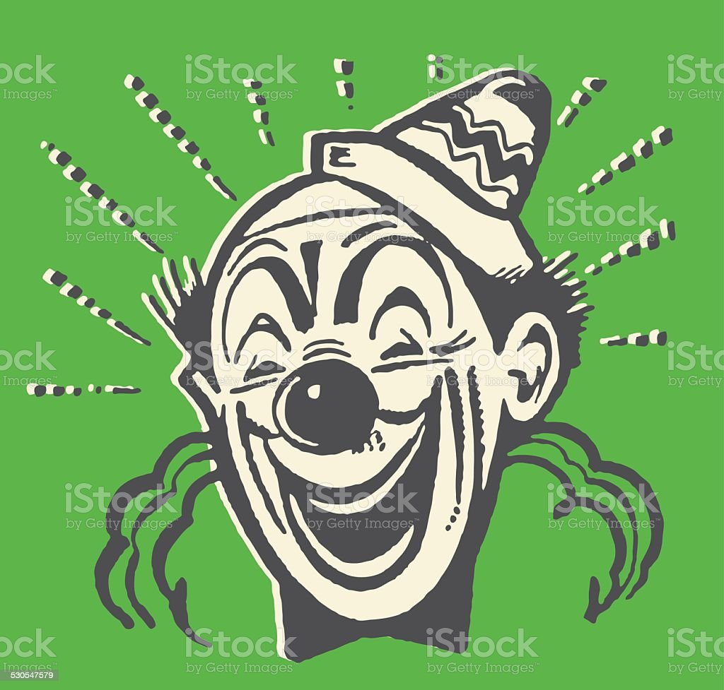 Laughing Bald Clown vector art illustration