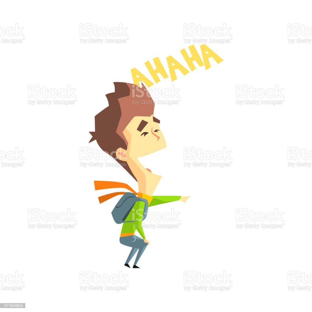 Laughing Boy Emotion Icon vector art illustration