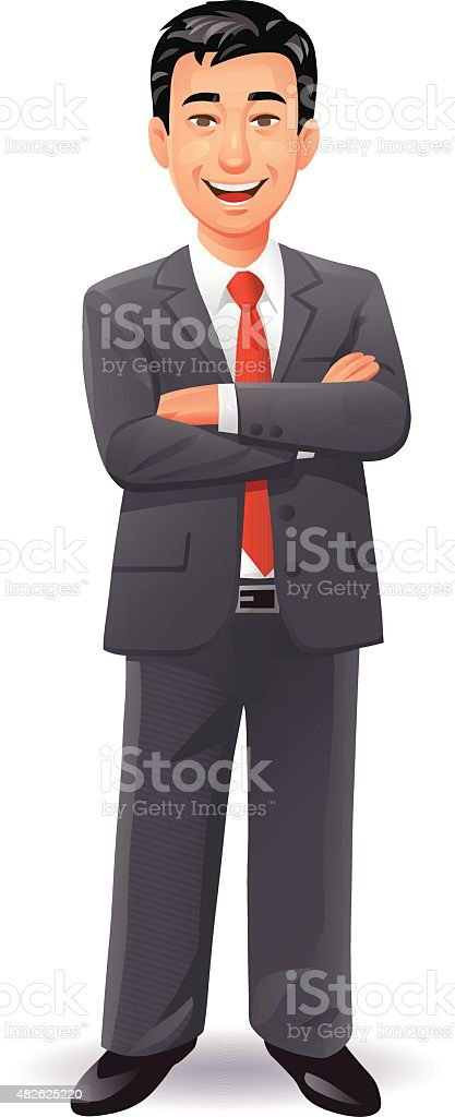 Laughing Businessman vector art illustration