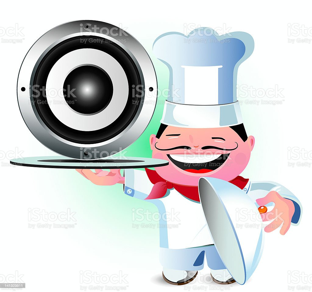 Laughing chef serving up a speaker royalty-free stock vector art