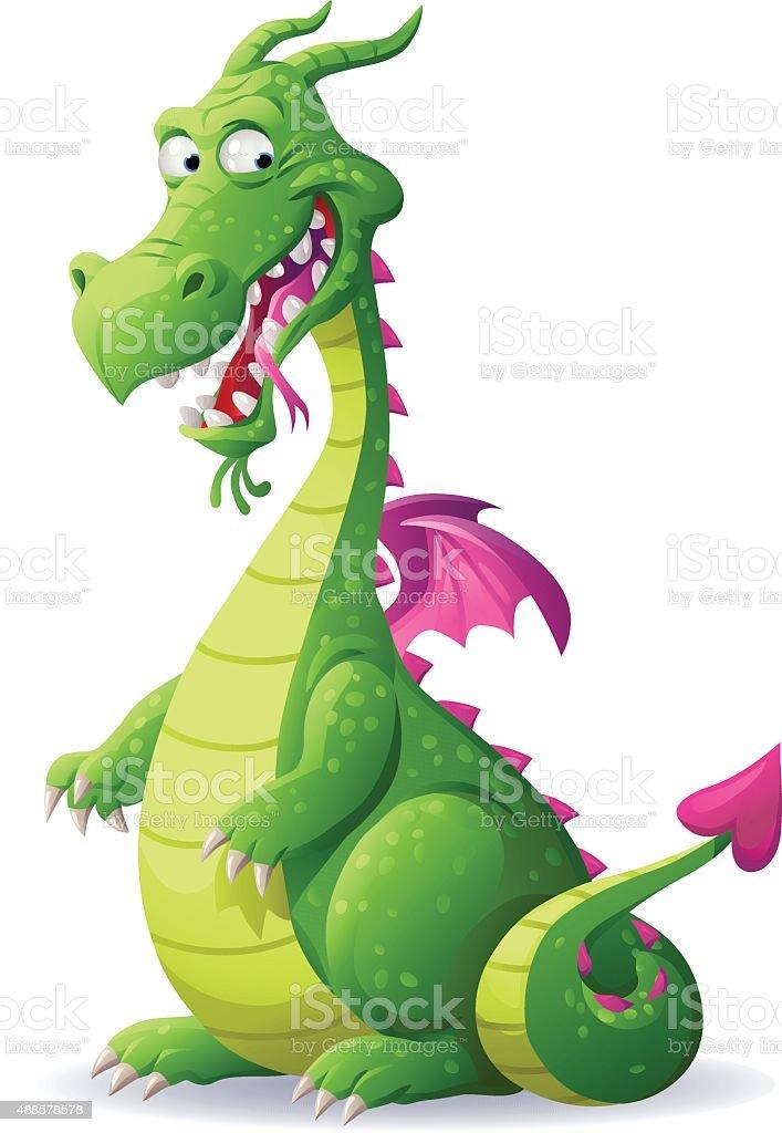 Laughing Green Dragon vector art illustration
