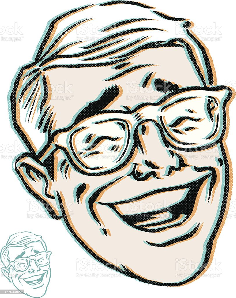 laughing man with glasses royalty-free stock vector art