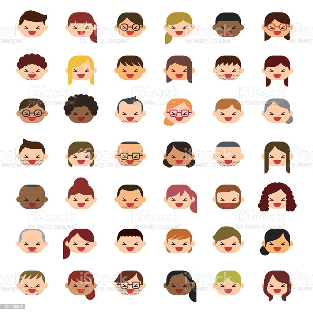 Laughing people icons vector art illustration