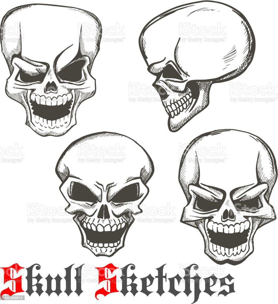 Laughing skulls sketches for tattoo design vector art illustration