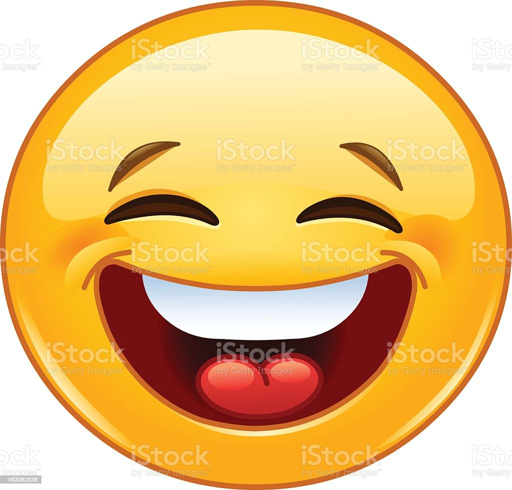 Laughing with closed eyes emoticon vector art illustration