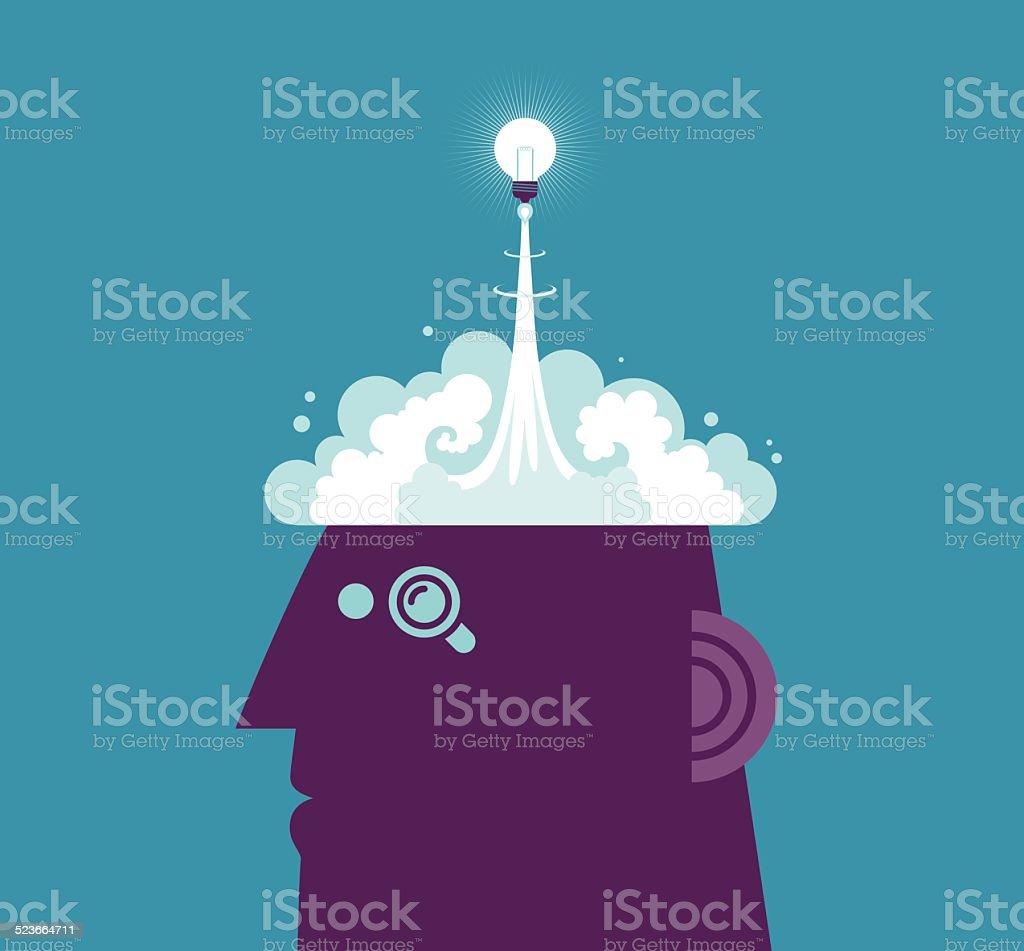 Launch Idea vector art illustration