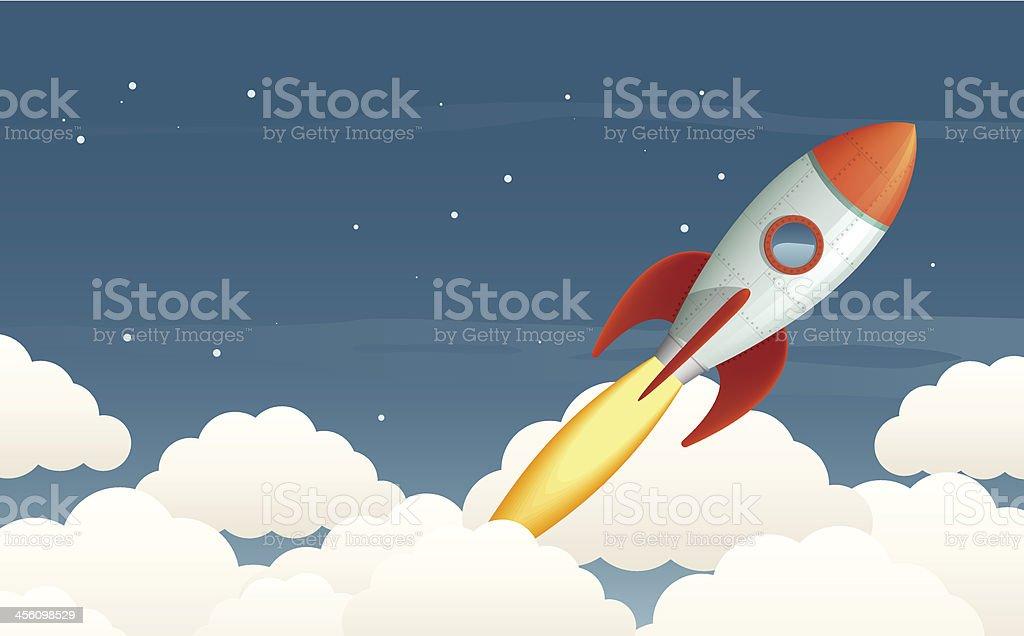 Launching rocket vector art illustration