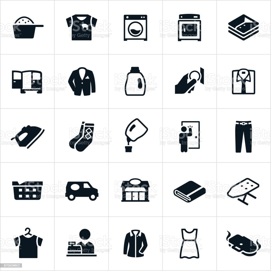 Laundromat and Dry Cleaning Icons vector art illustration