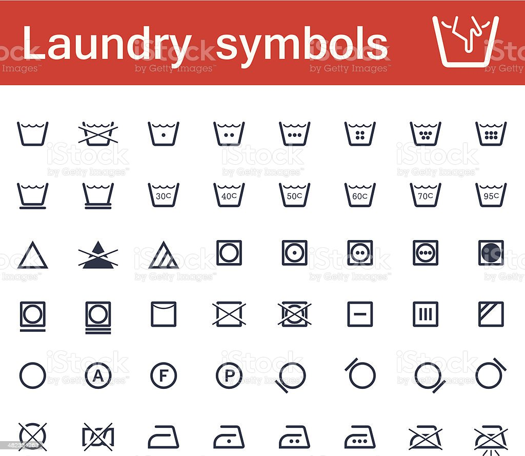 Laundry and clothing symbols vector art illustration