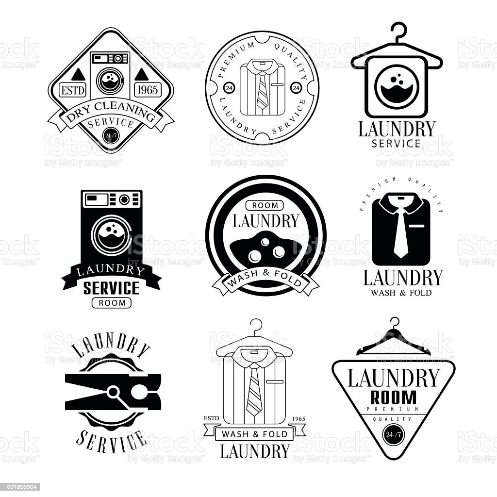 Laundry And Dry Cleaning Service Black  White Label Set vector art illustration