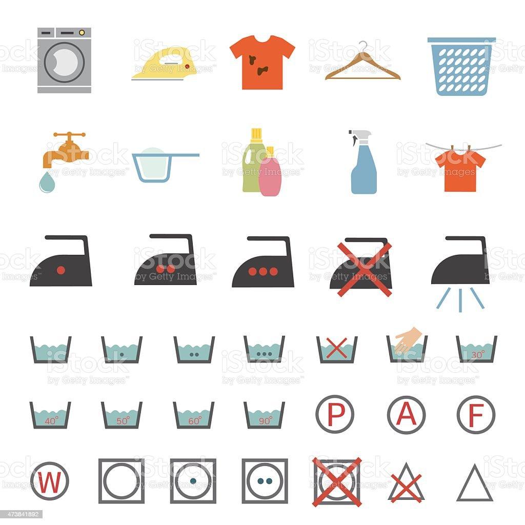 laundry and washing icon vector art illustration