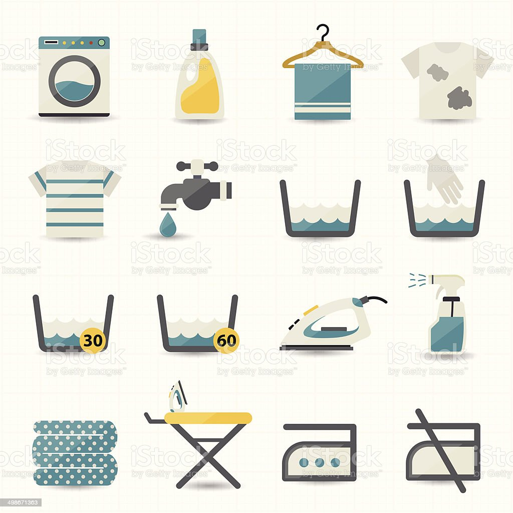Laundry and Washing Icons vector art illustration