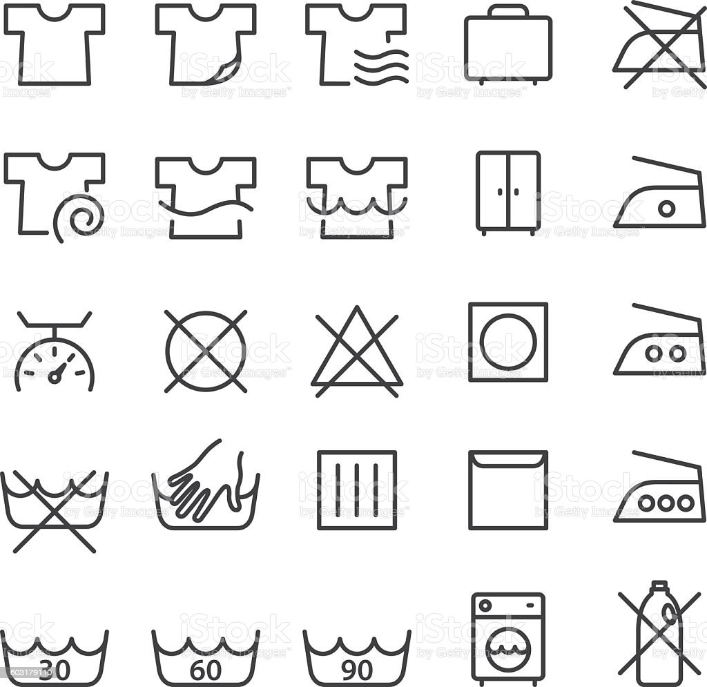 Laundry and washing symbols vector art illustration