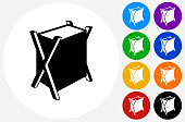Laundry Bag Icon on Flat Color Circle Buttons
