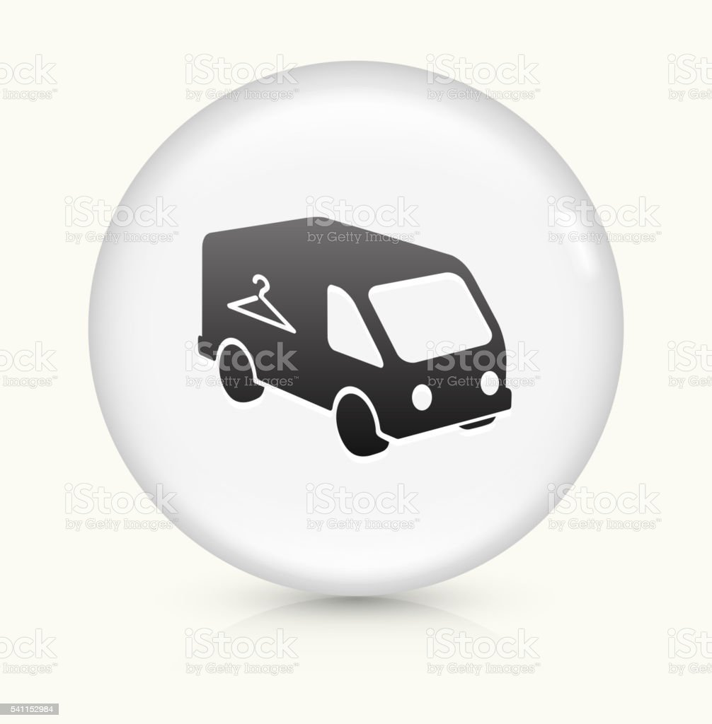 Laundry Car icon on white round vector button vector art illustration