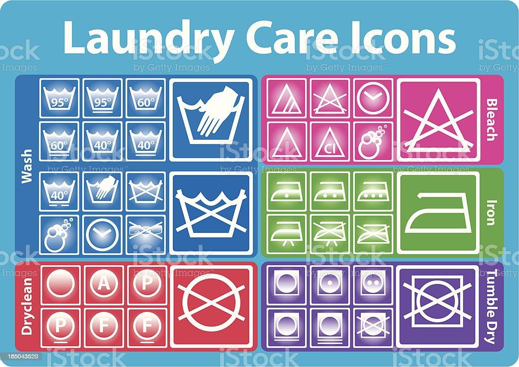 Laundry care icon set vector art illustration