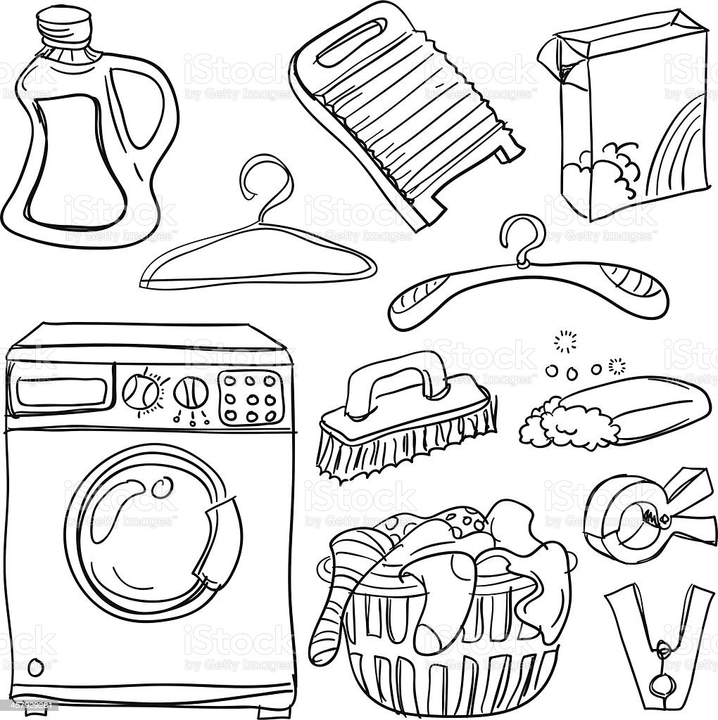 Laundry collection in black and white vector art illustration