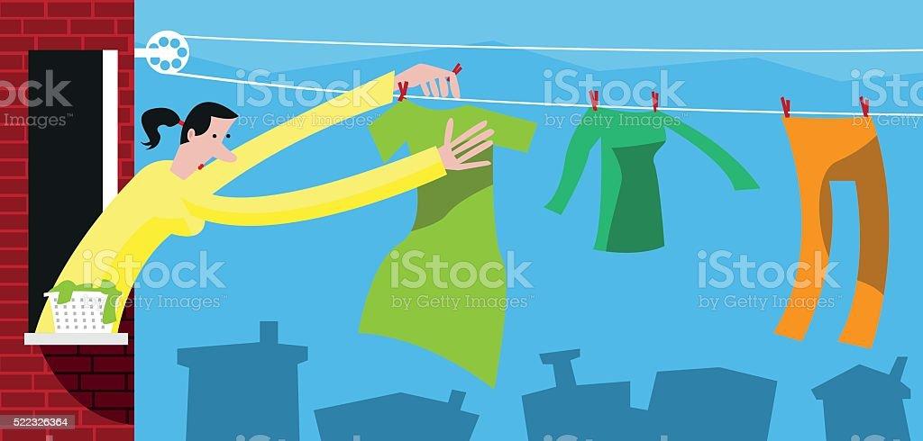Laundry day vector art illustration