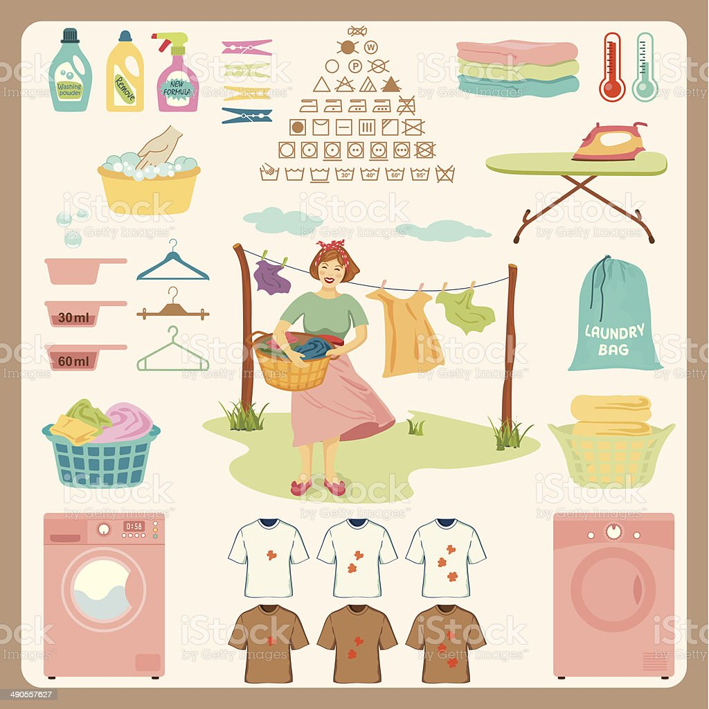 Laundry Design Set. vector art illustration