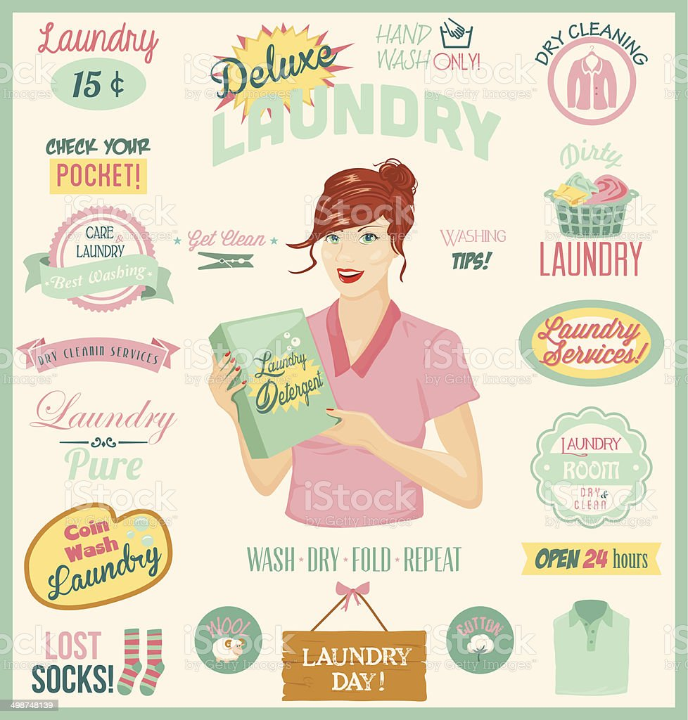 Laundry Design Set vector art illustration
