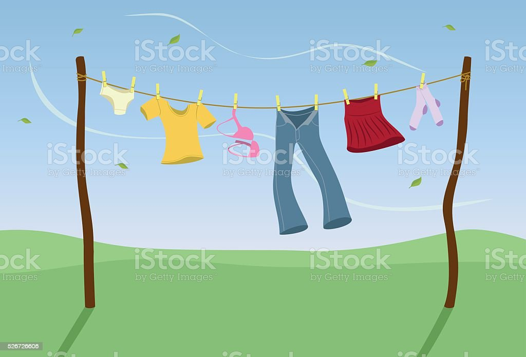 Laundry drying in the wind vector art illustration