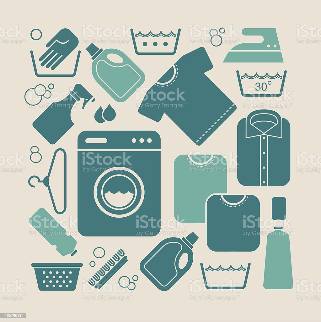Laundry equipments vector art illustration