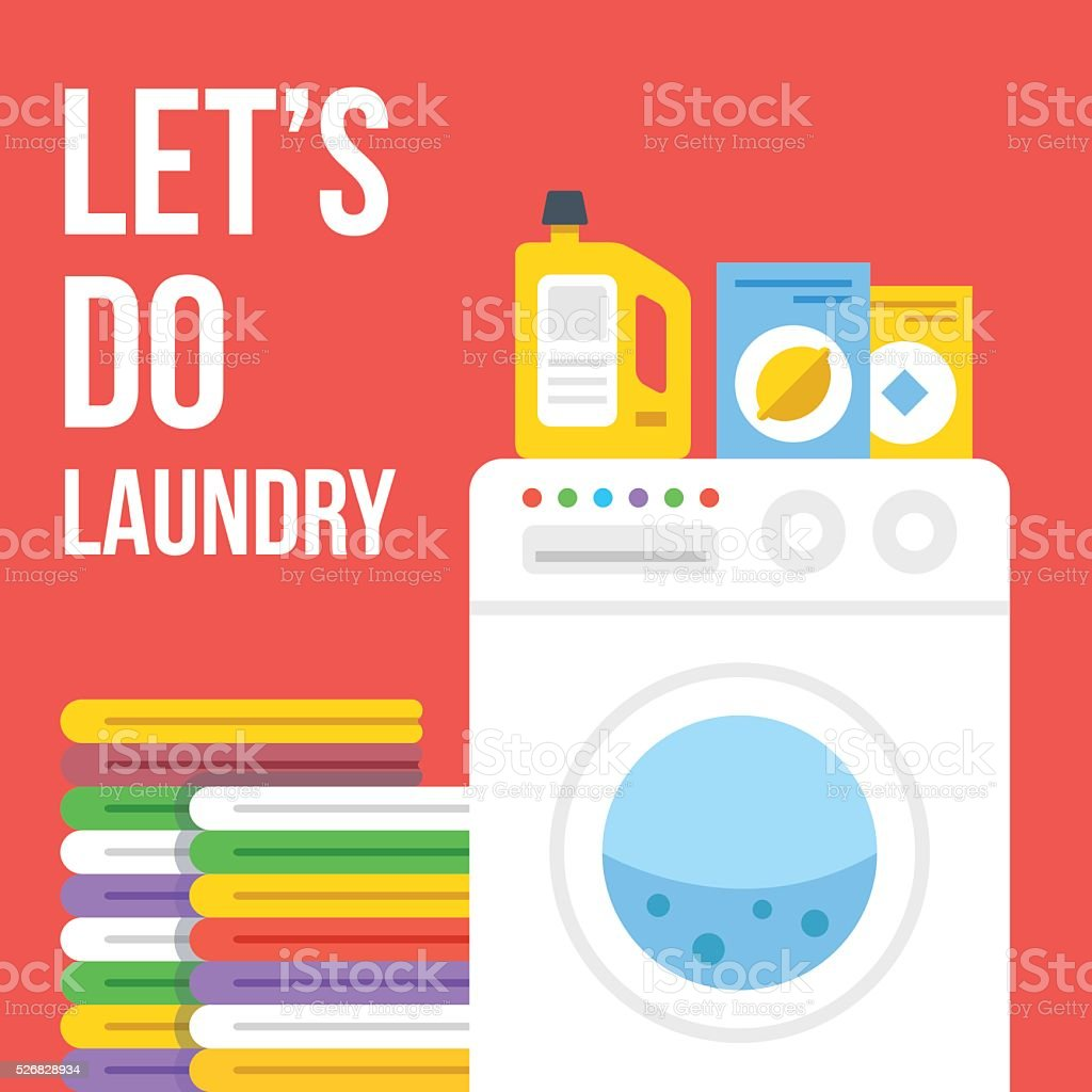 Laundry flat illustration. Washing machine, clothes, laundry detergent icons set vector art illustration