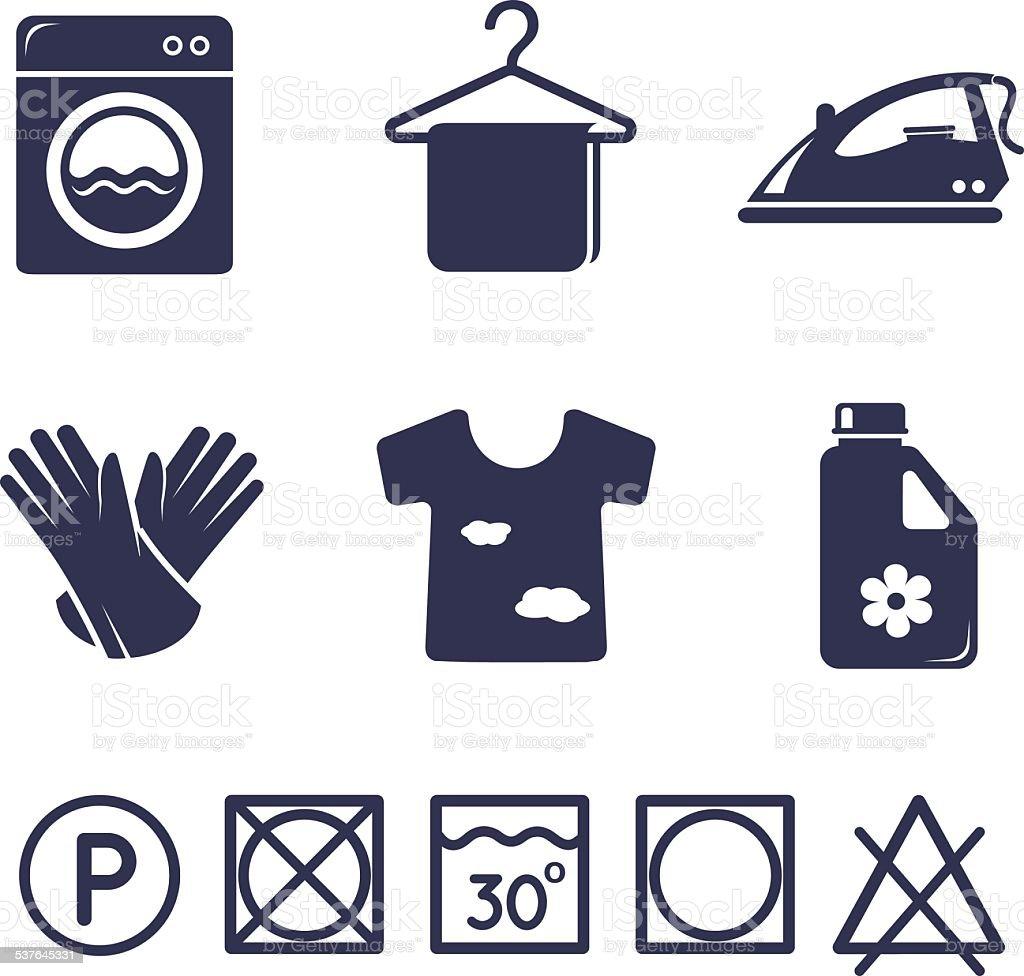 Laundry icons set vector art illustration
