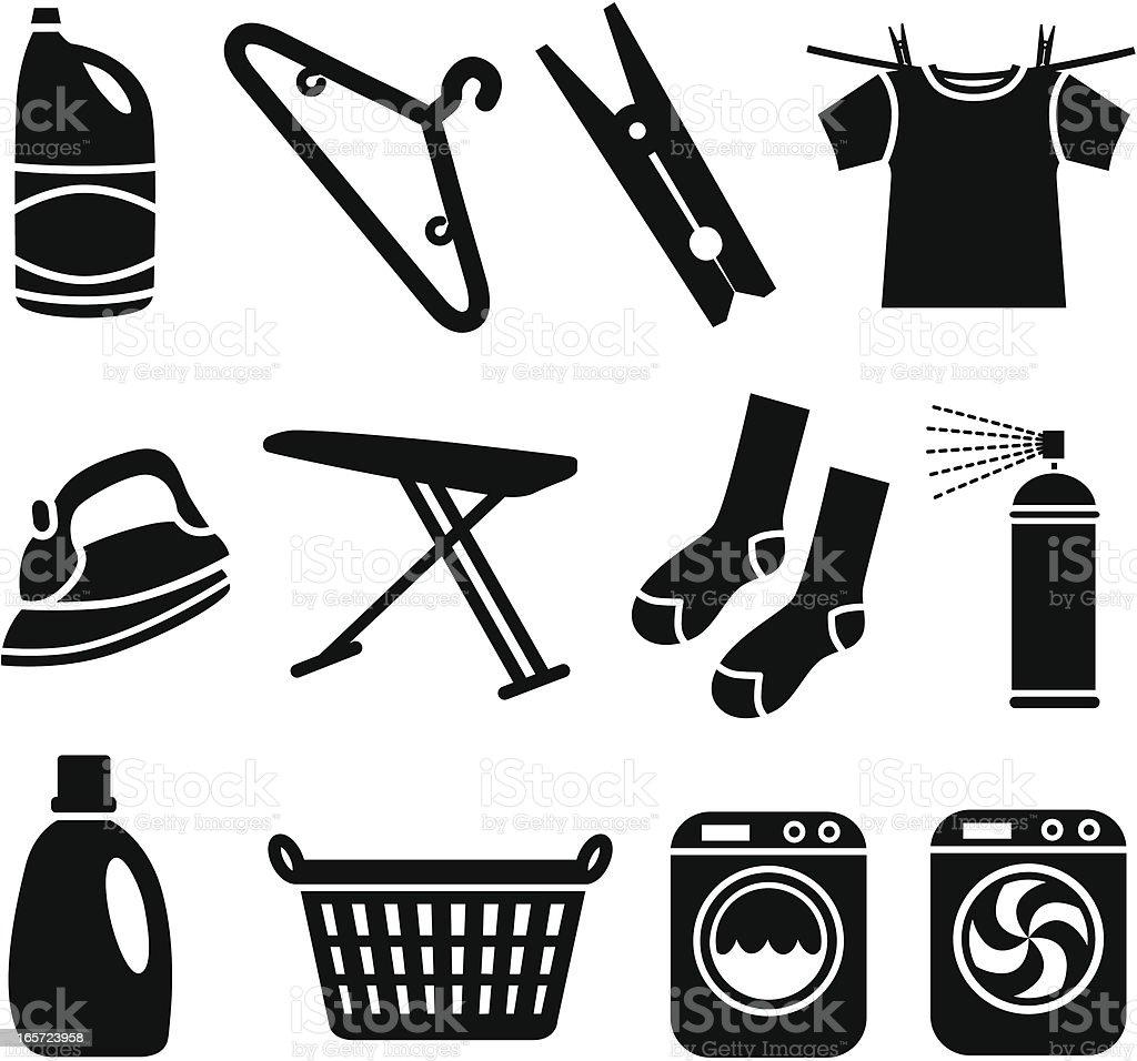 laundry icons vector art illustration