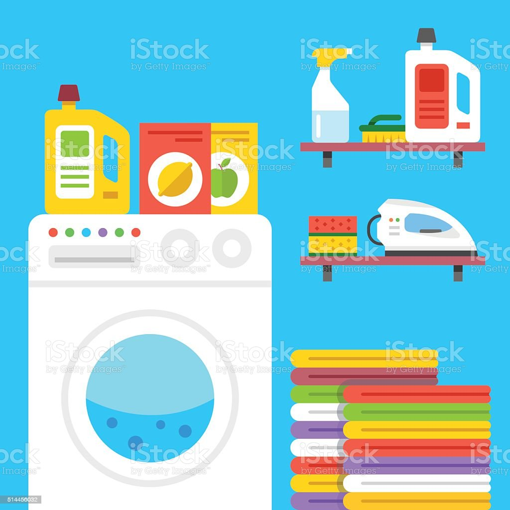 Laundry illustration. Laundry room with washing machine, household products, etc. vector art illustration