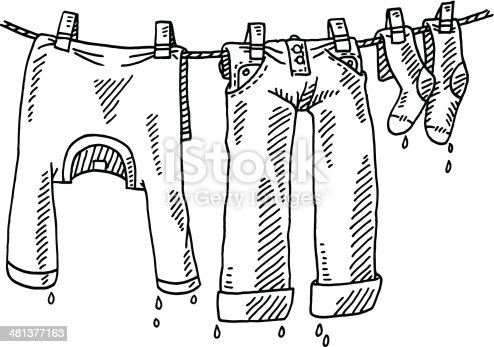 Laundry Line Clothing Drawing Stock Vector Art 481377163