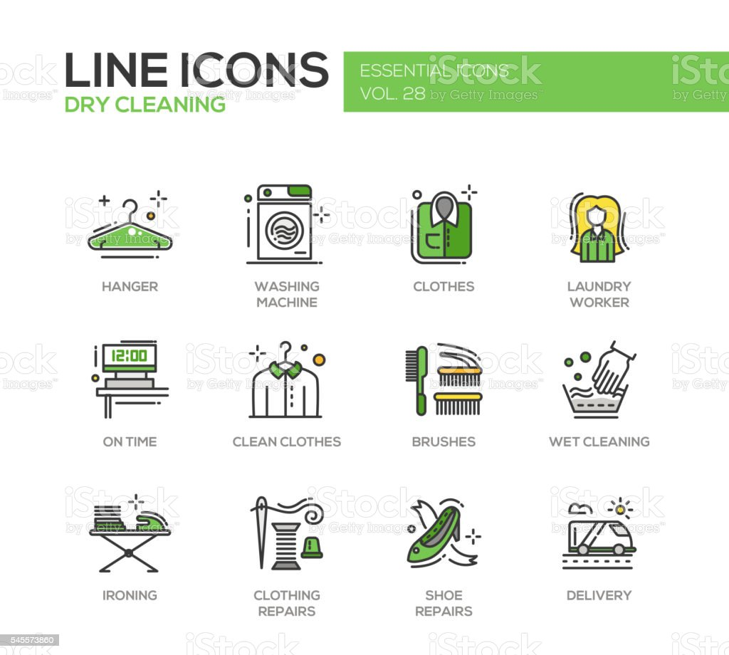 Laundry - line design icons set vector art illustration